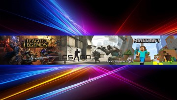 counter strike: global offensive, minecraft, league of legends youtube channel art banner