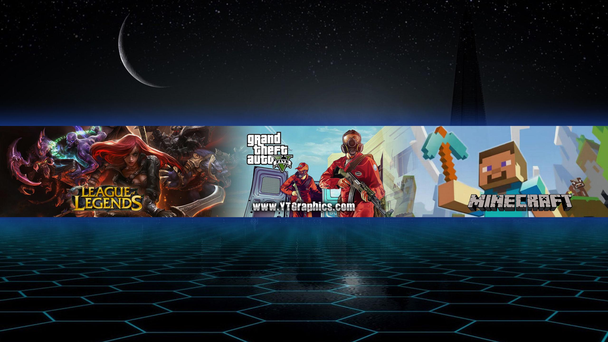 Mix Gta5 Lol Minecraft Youtube Channel Art Banner