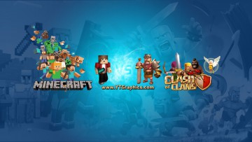Minecraft and Clash of Clans YouTube Channel Art Banner. Free Download.
