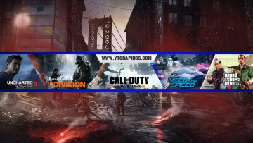 Uncharted, The Division, CoD: BO3, NFS, GTA V YouTube Channel Art Banner. Free Download.