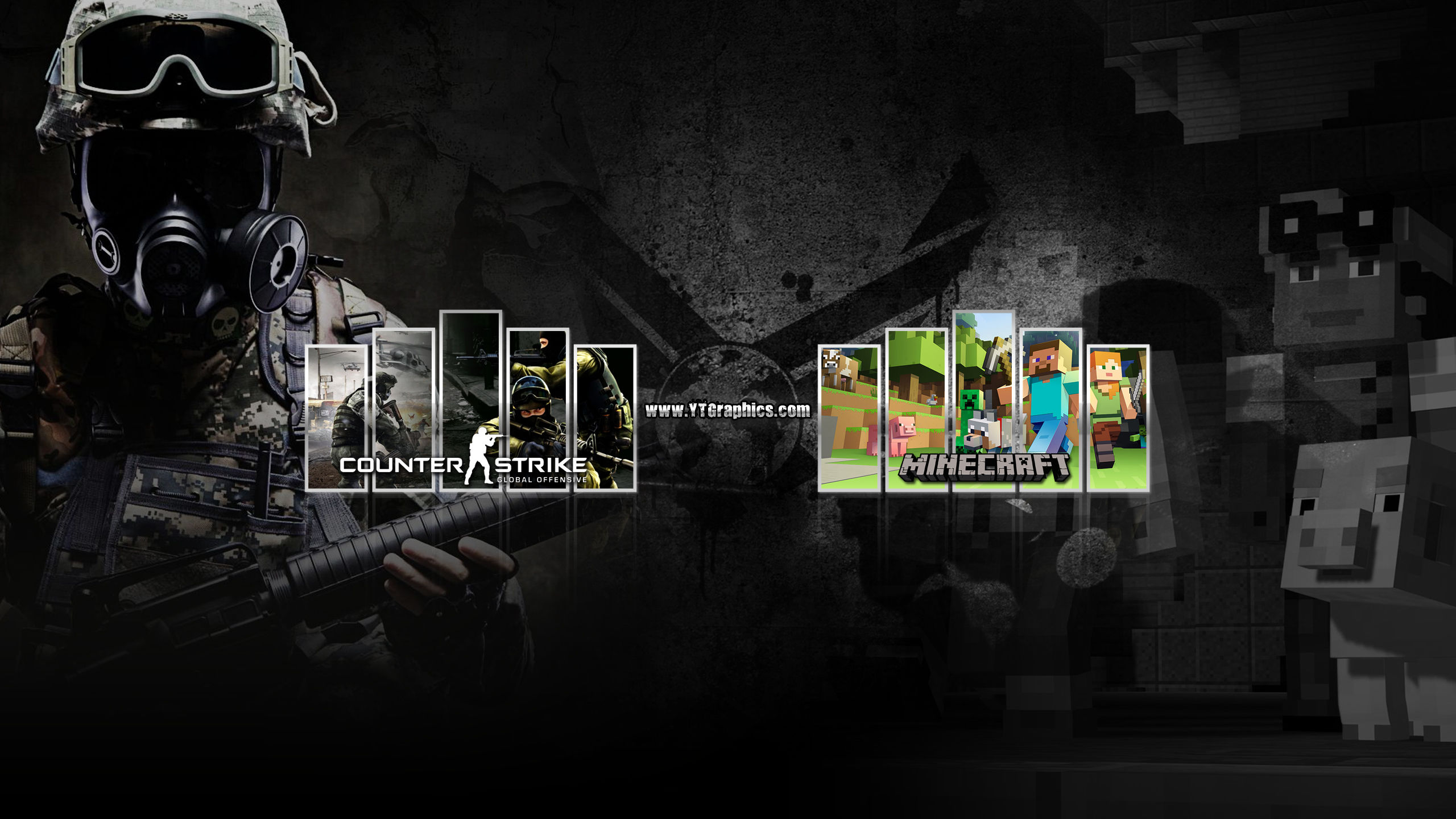 Mix Csgo Minecraft Youtube Channel Art Banner